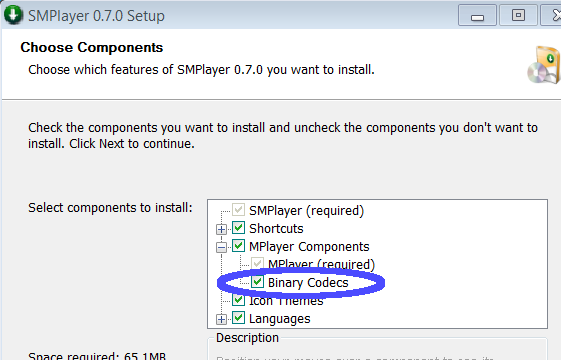 SMPlayer components dialog