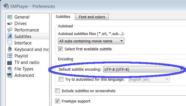 SMPlayer encoding selection