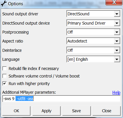 MPUI options dialog